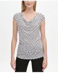 e876fbc3139c2 Lyst - Calvin Klein Petite Printed Pleated Neck Top