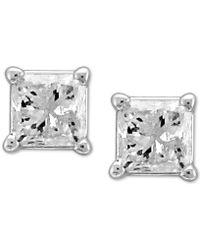 Macy's - Diamond Princess Stud Earrings (1/3 Ct. T.w.) In 14k White Gold - Lyst