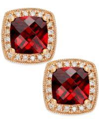 Macy's - Garnet (2-1/4 Ct. T.w.) And Diamond Accent Stud Earrings In 14k Rose Gold - Lyst
