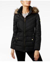 Michael Kors - Michael Petite Faux-fur-trim Hooded Coat - Lyst