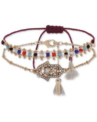 Lonna & Lilly - Gold-tone 2-pc. Set Crystal Hamsa Hand & Multicolour Beaded Bracelets - Lyst