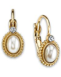 fc86d7e81 2028 - Gold-tone Simulated Pearl With Crystal Accent Leverback Earrings -  Lyst