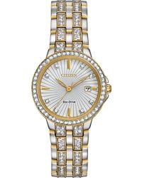 Citizen - Women's Eco-drive Crystal Accent Two-tone Stainless Steel Bracelet Watch 28mm Ew2344-57a - Lyst