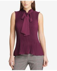 DKNY - Pleated Tie-neck Top - Lyst