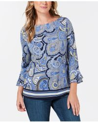 Charter Club - Printed Ruffle-sleeve Top, Created For Macy's - Lyst