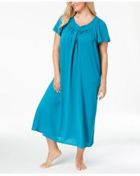 Miss Elaine - Plus Size Tricot Flutter Sleeve Long Gown - Lyst