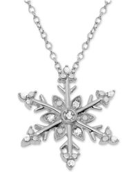 """Macy's - Diamond Snowflake 18"""" Pendant Necklace (1/10 Ct. T.w.) In Sterling Silver - Lyst"""