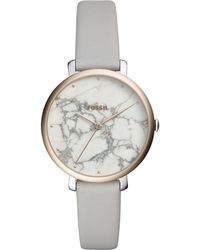 Fossil - Jacqueline Gray Leather Strap Watch 36mm - Lyst