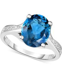 Macy's - London Blue Topaz (3-5/8 Ct. T.w.) & Diamond Accent Ring In 14k White Gold - Lyst