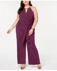 1.STATE - Plus Size Halter-neck Faux-wrap Jumpsuit - Lyst
