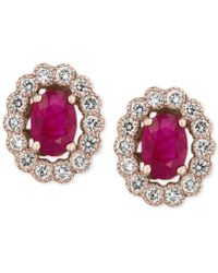 Effy Collection - Certified Ruby (1-9/10 Ct. T.w.) And Diamond (5/8 Ct. T.w.) Bezel Earrings In 14k Rose Gold - Lyst