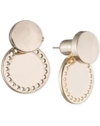 DKNY - Gold-tone Perforated Circle Jacket Earrings - Lyst