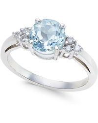 Macy's   Aquamarine (1-1/6 Ct. T.w.) And Diamond (1/10 Ct. T.w.) Ring In 14k White Gold   Lyst