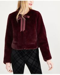 Maison Jules - Tie-neck Faux-fur Jacket, Created For Macy's - Lyst