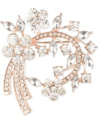Anne Klein - Silver-tone Floral Crystal Pin, Created For Macy's - Lyst