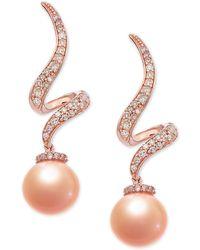 Macy's - Pink Cultured Freshwater Pearl (7-1/2 Mm) & Diamond (1/4 Ct. T.w.) Swirl Drop Earrings In 14k Rose Gold - Lyst