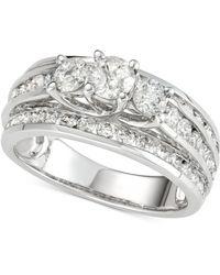 Macy's - Diamond Three-stone Multi-row Engagement Ring (2 Ct. T.w.) In 14k White Gold - Lyst