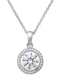 Giani Bernini - Cubic Zirconia Halo Pendant Necklace In Sterling Silver - Lyst