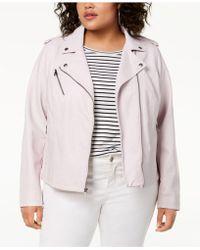 81dde0d6011 Lyst - Levi s ® Plus Size Faux-suede Belted Moto Jacket in Gray