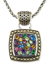 Effy Collection - Multistone Square Pendant In Sterling Silver And 18k Gold - Lyst