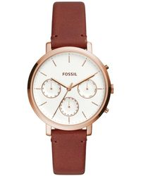 Fossil - Womens Sylvia Brown Leather Strap Watch Es4434 - Lyst