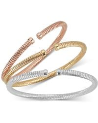 Macy's - 3-pc. Set Tubogas Bangle Bracelets In 14k Gold-, White Gold- & Rose Gold-plated Sterling Silver - Lyst