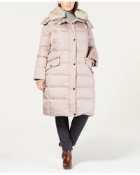 London Fog - Plus Size Faux-fur-collar Hooded Puffer Coat - Lyst