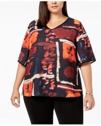 Joseph A - Plus Size Printed V-neck Top - Lyst