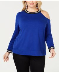 b9ec6084868fa Lyst - Inc International Concepts Plus Size Printed Cold-shoulder ...