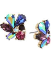 Betsey Johnson - Gold-tone Multi-stone Cluster Stud Earrings - Lyst