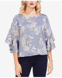 Vince Camuto - Petites Printed Ruffled Bell-sleeve Blouse - Lyst