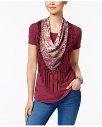 Style & Co. - Petite T-shirt With Printed Fringe Scarf - Lyst