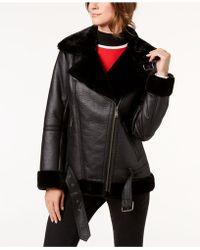 BCBGeneration - Faux-fur-trim Moto Jacket - Lyst