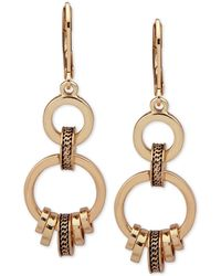 Anne Klein - Gold-tone Textured Ring Double Drop Earrings - Lyst
