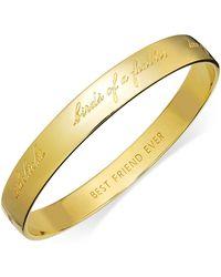 Kate Spade - Bracelet, 12k Gold-plated Bridesmaid Engraved Idiom Bangle Bracelet - Lyst