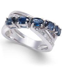Macy's | Sapphire (2 Ct. T.w.) & Diamond (1/10 Ct. T.w.) Crisscross Ring In 14k White Gold | Lyst