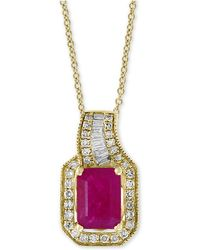 """Effy Collection - Amoré By Effy® Certified Ruby (1 Ct. T.w.) & Diamond (1/5 Ct. T.w.) 18"""" Pendant Necklace In 14k Gold - Lyst"""