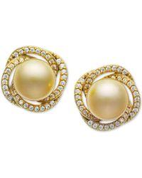 Macy's - Cultured Golden South Sea Pearl (9mm) & Diamond (3/8 Ct. T.w.) Stud Earrings In 14k Gold - Lyst