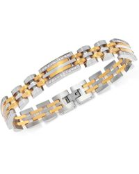 Macy's - Men's Diamond Two-tone Link Bracelet (1/2 Ct. T.w.) In Stainless Steel And Yellow Ion-plate - Lyst