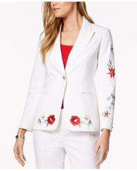 Nine West - Embroidered One-button Blazer - Lyst