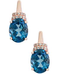 Effy Collection - London Blue Topaz (4-1/4 Ct. T.w.) And Diamond Accent Drop Earrings In 14k Rose Gold - Lyst