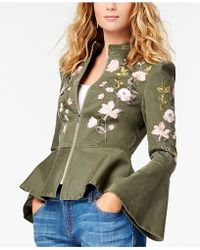 INC International Concepts - Petite Embroidered Cropped Peplum Jacket - Lyst