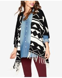 Ella Moss - Maternity Open-front Fringed Poncho - Lyst