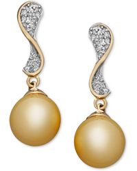 Macy's - 14k White Gold Earrings, Cultured South Sea Pearl (10mm) And Diamond (3/4 Ct. T.w.) Stud Earrings - Lyst