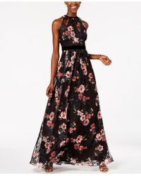 Adrianna Papell - Embroidered Velvet-trim Gown - Lyst