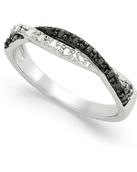 Macy's - Sterling Silver Ring, Black And White Diamond Weave Ring (1/10 Ct. T.w.) - Lyst
