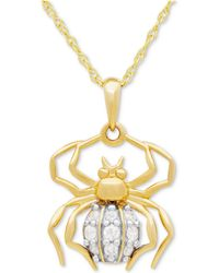 Macy's - Diamond Spider Pedant Necklace (1/10 Ct. T.w.) In 10k Gold - Lyst