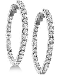 Macy's - Diamond In And Out Hoop Earrings (3 Ct. T.w.) In 14k White Gold - Lyst