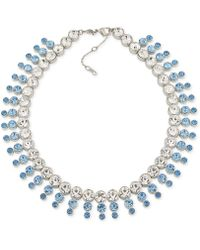 Carolee | Silver-tone Blue & Clear Crystal Collar Necklace | Lyst