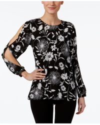 Vince Camuto - Printed Split-sleeve Top - Lyst